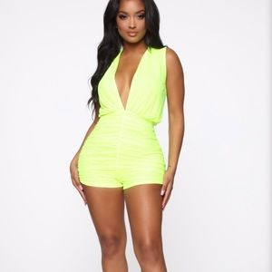 Shayla Ruched Romper- Neon Yellow